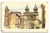 Pacifica Island Art Puerta de Bisagra (Puerta de Bisagra) - Toledo, España - TWA (Trans World Airlines) - Póster Viaje Línea aérea de David Klein c.1960s - Letrero de Madera 20x30cm