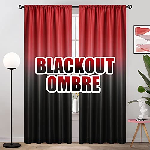 COSVIYA Ombre Room Darkening Curtains 84 inches Length for Living Room, Light Blocking Red to Black 2 Tone Reversible Rod Pocket Gradient Window Drapes for Kids Bedroom, 2 Panels, 52 inches Wide