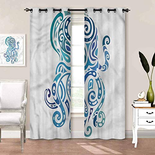 painting-home Curtain Octopus, Sea Animal Insulating Blackout Drapes Keep The Indoor Privacy W55 x L39 Inch