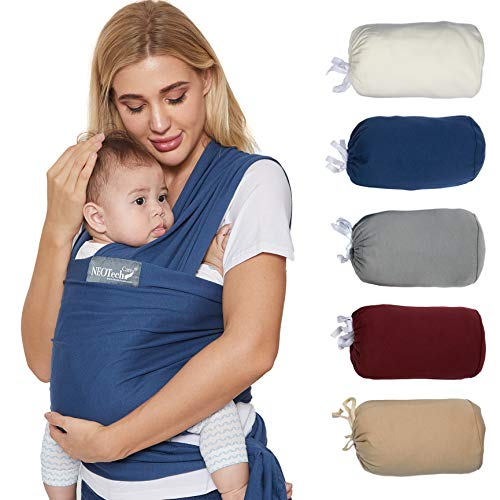 Neotech Care Baby Wrap Carrier - Cotton - Breathable & Adjustable - for Infant, Newborn, Child, Toddler (Blue)