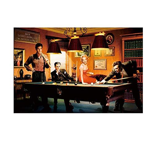 manbgt Moderne Klassische Filmplakat Leinwand Malerei Elvis Presley Humphrey Bogart Spielen Billard Wandkunst Porträt Bild Wohnkultur 60x90cm ohne Rahmen