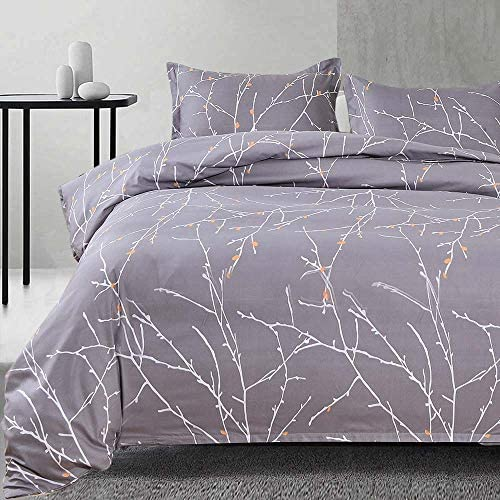 NANKO Queen Duvet Cover Set Gray Tree Branch Floral Pattern Printed 3pc 90x90 Luxury Microfiber product image