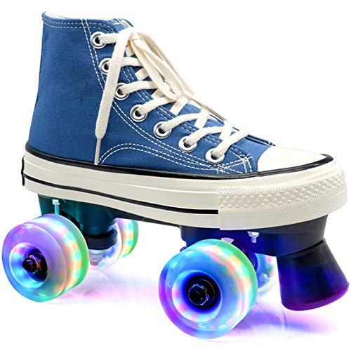 Xbshmw Rollschuhe Hellblau für Frauen Männer, Disco-Roller für Erwachsene, geeignet für Straße und Halle, LED Quad Skating für Mädchen und Jungen im Innenbereich,Flash Wheel,42