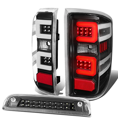 3D LED Tail Lights Bundle with Third Brake Lamp Replacement for Chevy Silverado 1500 2500HD 3500HD 14-19, Black Housing Clear Lens