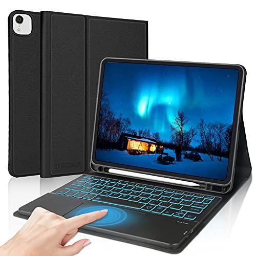 Teclado Touchpad para iPad Air 4 2020, DINGRICH Funda con Teclado Español Trackpad Bluetooth Inalámbrico Extraíble Recargable 7 Color Retroiluminada para iPad Air 4 10.9'/iPad Pro 11' 2020/2018 Negro