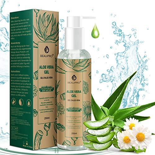 Gel de Aloe Vera con Manzanilla, 100% Natural Aloe Vera Crema para Hidratante para Pelo y Piel Ideal para Pieles Secas y Quemadas Por el Sol, Antisensible Antiinflamatorio Anti-Edad 250 ML