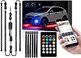 SKYWPOJU Lumières sous-luminescentes pour camions de Voitures, 4 Pcs 12V 300 LED Bandes LED Bluetooth avec 8 Couleurs, lumières de sous-châssis de contrôle APP, Kit d'éclairage étanche