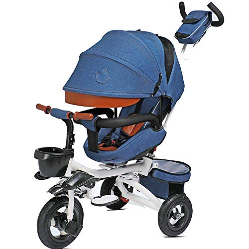 MYPNB Kinder-Dreirad Faltbare mit Schiebegriff for Kinder Pedal-Fahrrad mit Sonnenschutz Dach 1-6 Jahre OldLoad Gewicht 50kg Kinderwagen-Jungen-Mädchen-Spielzeug-Auto (Color : Blue)