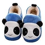 Sisttke Mädchen Hausschuhe Jungen Winter Baumwolle Pantoffeln mit Cartoon ,Katzenbär Blau, Gr- 30-31 EU/ Herstellergröße- 210