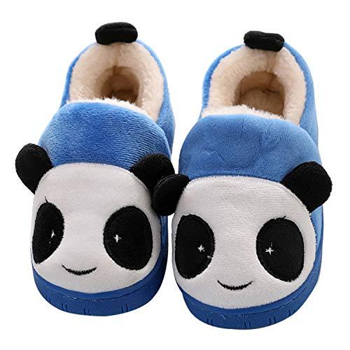 Zapatillas de Estar por Casa para Niños Niñas Invierno Otoño Slippers Casa Interior Caliente Pantuflas Suave Algodón Animados Historieta Zapatos, Panda Azul, 32/33 EU