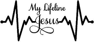Car777 Car Decals My Lifeline Jesus Graph Sticker Christian God Religious Cute Car Styling Decal - Black