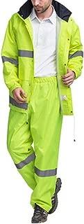 Portable Hooded Raincoat Reflective Rain Jacket Safety Raincoat (Neon yellow, L) by Joyutoy