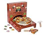 PLAYTIVE JUNIOR Holzlebensmittelset PIZZA SET, 27-teilig, 6 belegbare Pizzastücke mit Klettverbindungen, Box ist als Pizzaofen bespielbar
