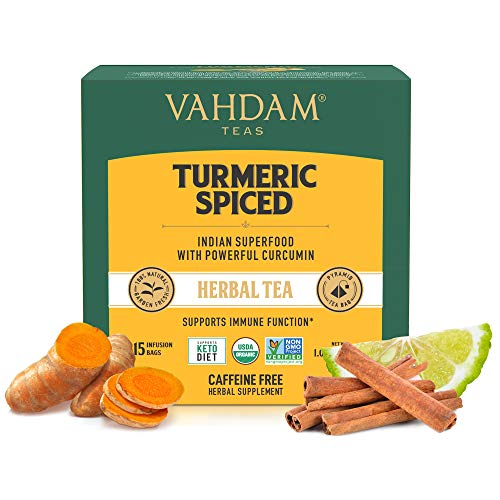VAHDAM, Organic Turmeric Spiced Herbal Tea (30 Tea Bags) | USDA Certified Organic Blend of Turmeric Powder & Fresh Spices | Turmeric Tea for Weight Loss | 100% Natural Detox | Immunity Support