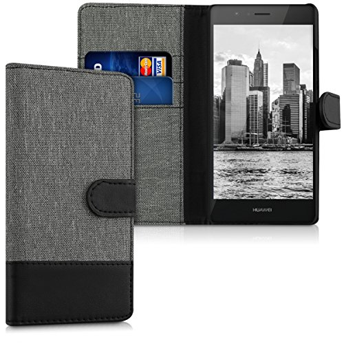 kwmobile Wallet Hülle kompatibel mit Huawei P9 Lite - Hülle Kunstleder mit Kartenfächern Stand in Grau Schwarz