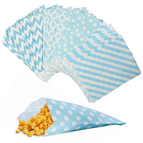 Amacoam Candy Bar Zakken Broodzakken Snoepzakken Papieren zakken Candybar zakken Blauw Snack Zakken Geschenktasjes voor Pasen Bruiloft Verjaardag Feest Party 100 stuks 4 verschillende ontwerpen 18 x 13 cm
