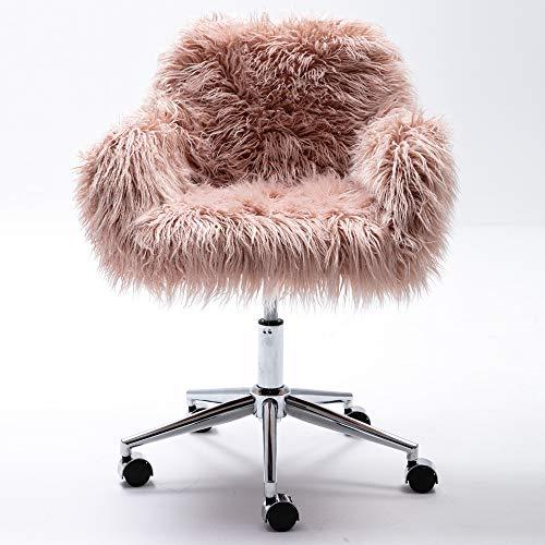 Festnight Faux-Fur Chrome Base Adjustable Office Chair,Pink
