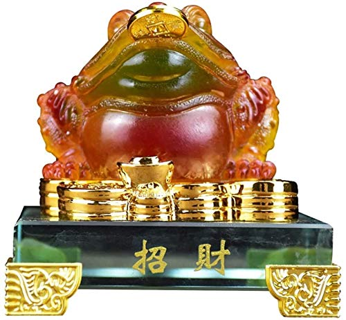 FLYAND Feng Shui Statue Feng Shui Money Frog (Three Legged Wealth Frog Or Money Toad) Statue/Chan Chu Statue/Fortune Toad/money Toad Wealth Lucky Figurine