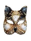 Máscara Veneciana de Media Cara de Gato Gatto Arabesco para Mujer (Negro)