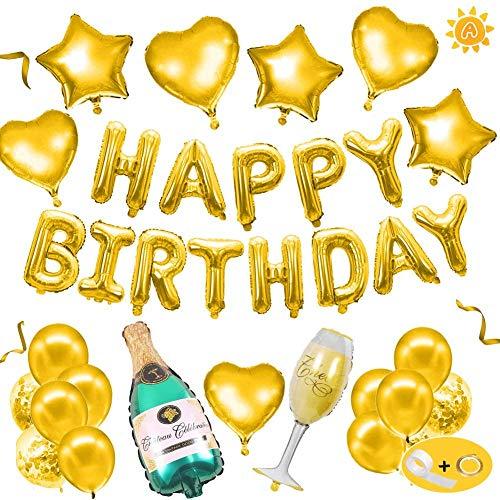 Globo de cumpleaños de champán, decoración de cumpleaños dorada, despedida de soltero, botella de vino, globo de látex, mujer, niña