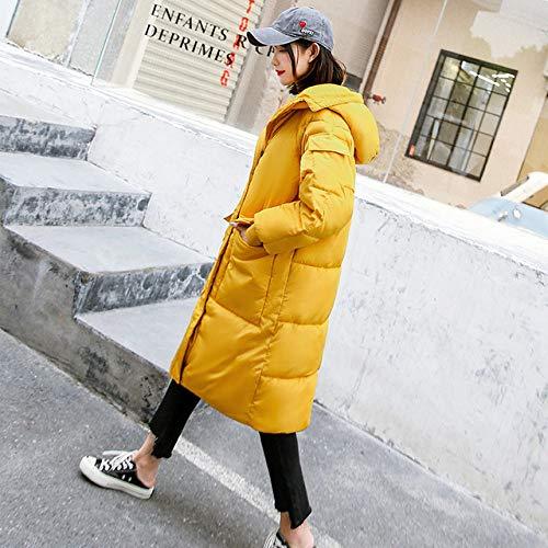 EIJFKNC Daunenjacke Mäntel Winterjacke Frauen Lange Winter Baumwolljacke Baumwolljacke koreanische Version Brotjacke lose Oversize-Jacke, gelb, M