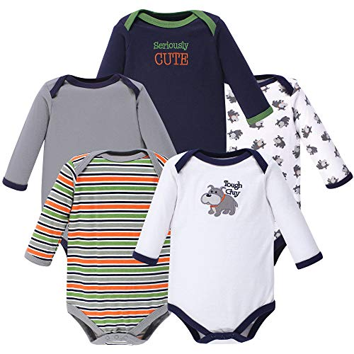 Luvable Friends Unisex Baby Cotton Long-Sleeve Bodysuits, Dog, 3-6 Months