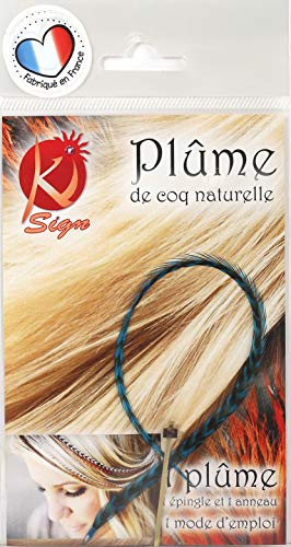 Ki-Sign Plume pour Cheveux Bleu 25 cm