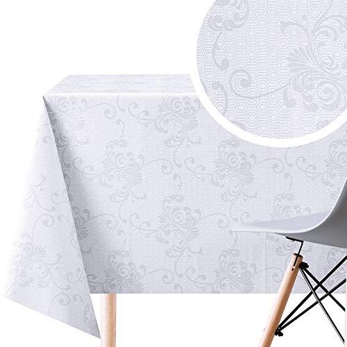 KP HOME Manteles Hule Modernos Hojas PVC Fácil de Limpiar - Grande Rectangular 300 x 140 cm Plastico Mesa de Vinilo Plastificado Fácilmente Mantel Oriental Gris de Lujo