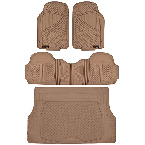 Flextough Odorless Rubber Car Floor Mats Front & Rear with Trunk Cargo Liner Trunk Set, Extreme Heavy Duty