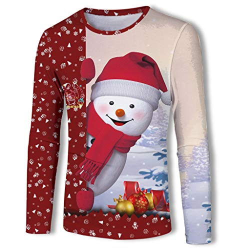Cheapest Prices! Mens Ugly Christmas T-Shirt, Smiling Snowman Peek A Boo Print Long Sleeve Blouse (X...