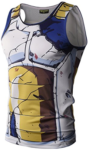 PIZOFF Mens Sleveless Quickly Dry 3D Cartoon Print Work Out Compression Tank Top Y1783-01-M