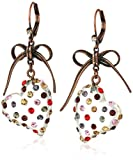 Betsey Johnson Stone Lucite Heart Drop Earrings