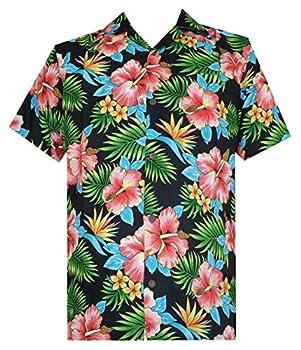 Hawaiian Shirt 47 Mens Allover Flower Beach Aloha Casual Holiday Black XL