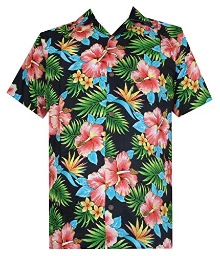 Price comparison product image Hawaiian Shirt 47 Mens Allover Flower Beach Aloha Casual Holiday Black M