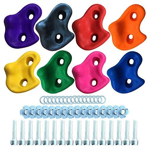 SDGDFXCHN Strukturierte Klettergriffe für Kinder mit Montagematerial Mehrfarbige Klettersteine ??Set Schrauben-Muttern/Muttern & Bolzen für Wand oder Holzklotz