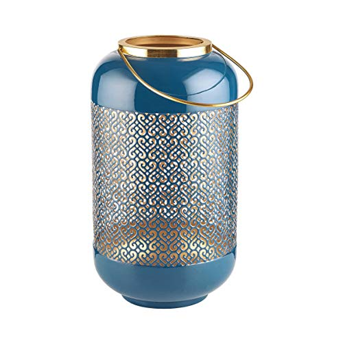 Butlers Emilie Laterne H?he 33cm in Blau und Gold - Orientalisches Windlicht aus Metall mit Ornamenten - Kerzenlaterne