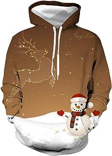 XXLHH Patrones unisex 3D de la novedad sudaderas Estampado sudaderas con capucha sudadera pulóver bolsillos de Navidad