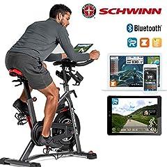 Schwinn Speedbike IC8 avec Bluetooth Indoor Cycle avec résistance magnétique, réglage de résistance 100 fois avec affichage numérique, Zwift App. Compatible, pédales de clic SPD, poids maximum de l'utilisateur 150 kg