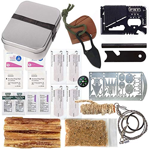 Kaeser Survival Emergency Tin First Aid Fatwood 22-1 Card Fishing Hiking Ferro Rod Knife Saw Compass Band Aids (Pocket)