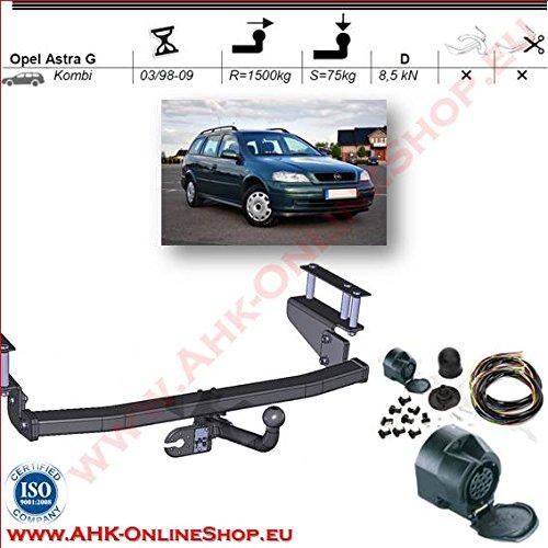 AHK Anhängerkupplung mit Elektrosatz 13 polig für Opel Astra II G 1998-2004 Kombi Anhängevorrichtung Hängevorrichtung - starr, mit angeschraubtem Kugelkopf