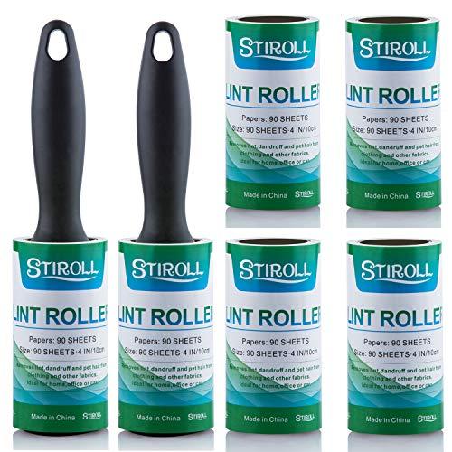 Rodillo quitapelusas extrapegajoso para eliminar el polvo de ropa, asientos de coche, muebles, sofá, paquete de 6 unidades, 4 recargas, 540 hojas