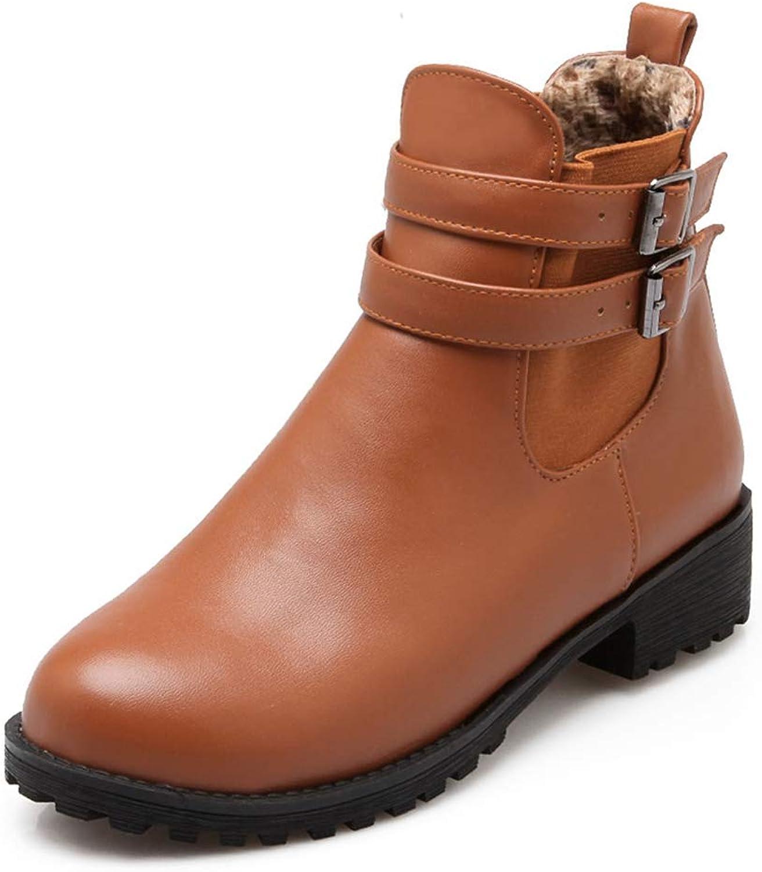 GIY Women's Winter Waterproof Fur Snow Boots Round Toe Buckle Slip On Low Block Heel Warm Snow Boots