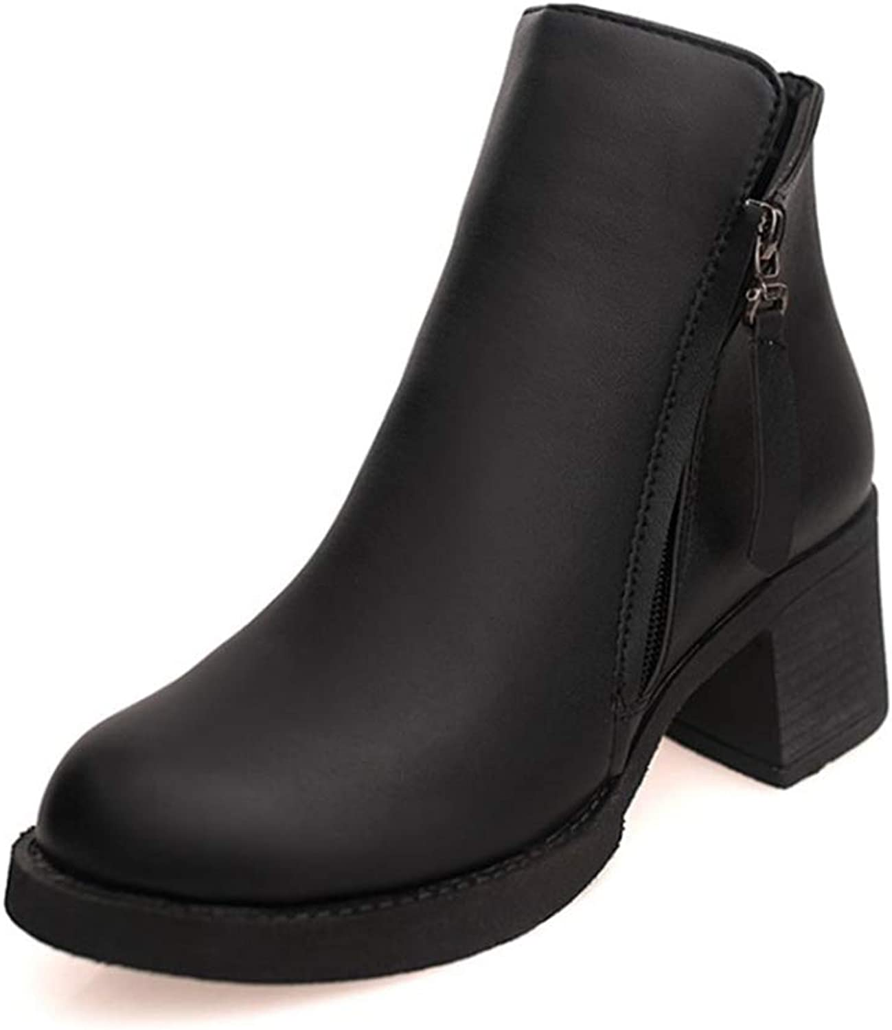 T-JULY Ankle Boots for Women Leather shoes Wedges Black Red Fashion shoes Leather Boots Botines
