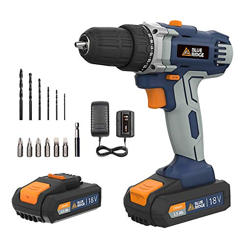 BlueRidge UK-BR2809 18V Lithium-Ion Cordless Drill Driver/Screwdriver,2pcs 1.5Ah Li-Ion Battery Packs,1hr Fast Charger, 10mm keyless Chuck, 25N.m,Variable Speed,2 Speed Gearbox,13pcs Free Accessories