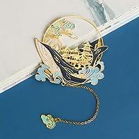 2 パック クジラ ブックマーク,レトロ 彫刻花 メタルブックマーク タッセル付き,美しい 中空 しおり 理想的 ギフト 用 リーダー 子供 読書用品-B 2個