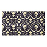 FURINKAZAN Happy Halloween Skull & Bat Pattern-01 - Alfombrilla de ducha antideslizante para bañera con agujeros de drenaje