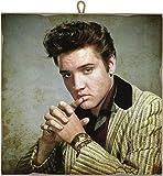 KUSTOM ART Quadro Quadretto Stile Vintage Elvis Presley da Collezione Stampa Laser su Legno Alta qualità - Idea Regalo
