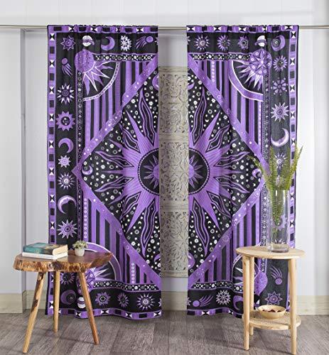 Popular Handicrafts Indian Burning Sun Hippie Mandala Window Curtains - Gypsy Tye Dye Bohemian Sun Moon Beautiful Drapery Bedroom Living Room Balcony Valance Panels Golden