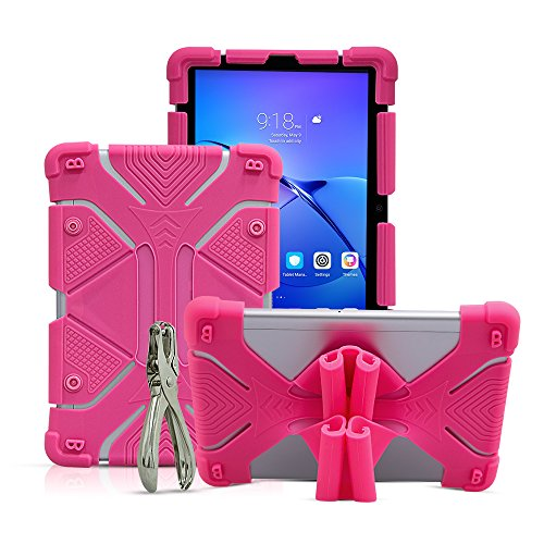 """CHINFAI 8.9~10.1 inch Tablet Case, 2nd Gen Universal Silicone Protective Stand Cover for New iPad 2018, Samsung Galaxy Tab S2/S3 9.7 inch, Kindle Fire HD 8.9"""" (Rose)"""