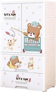 Armoire portable en résine pour enfants Motif ours de dessins animés 57x38x110cm Blanc